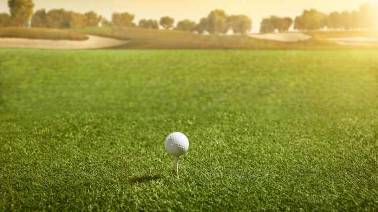 Golf ball in open space